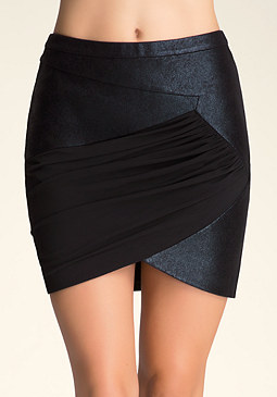 bebe Coated Miniskirt with Mesh