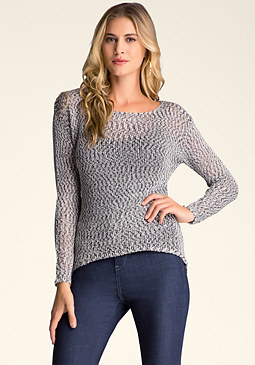 bebe Hi-Lo Long Sleeve Sweater