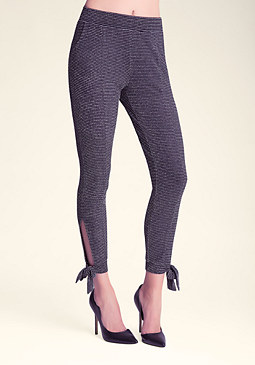bebe Metallic Tie Leg Pants