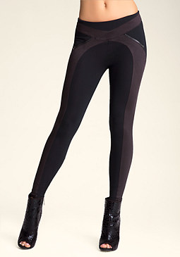 bebe Faux Suede Zip Leggings