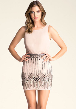 bebe Contrast Embellished Dress