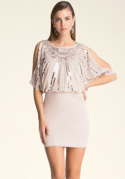 bebe Dolman Sleeve Sequin Dress