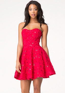 Sequin Fit & Flare Dress at bebe