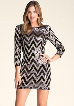bebe Zigzag Sequin Dress