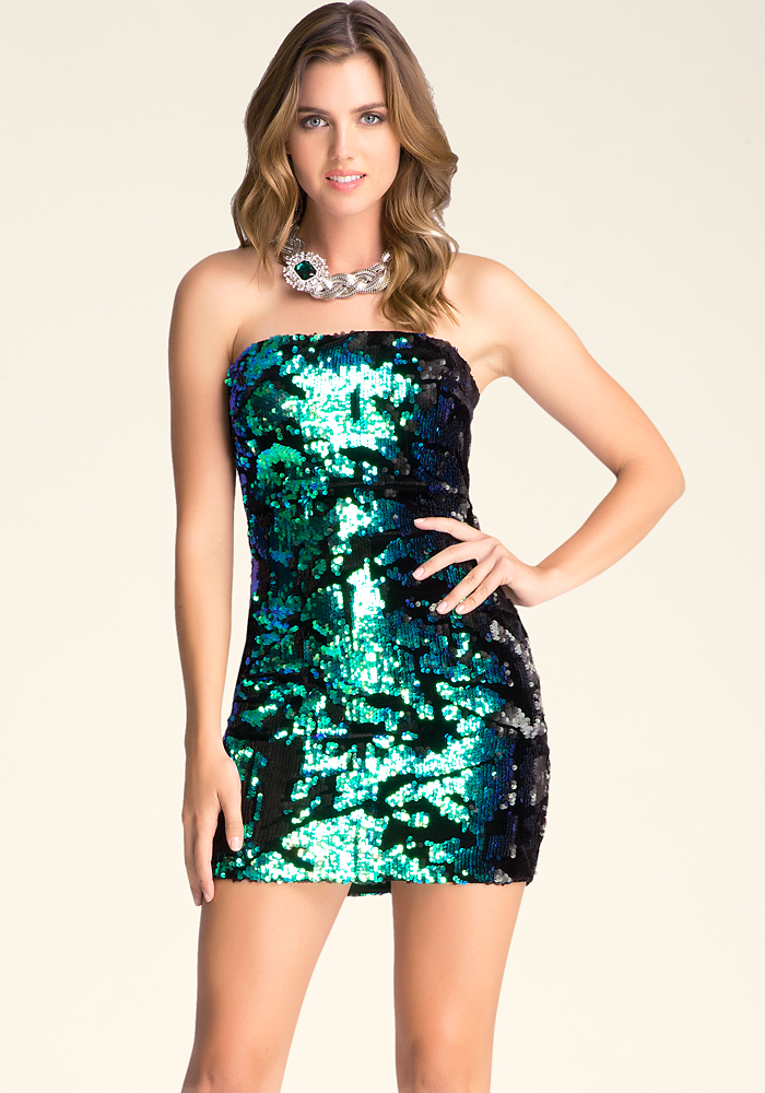 Strapless Sequin Dress | bebe