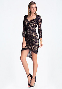 bebe 3/4 Sleeve Lace Panel Dress