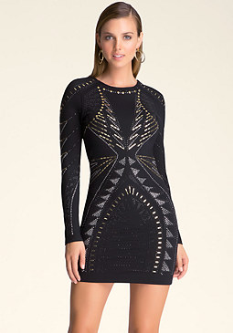 bebe Studded Long Sleeve Dress