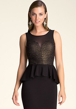 bebe Lace & Ponte Peplum Dress