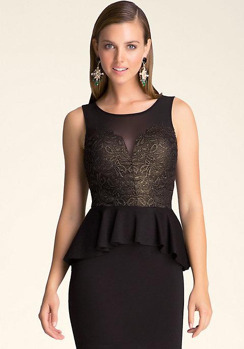 Lace   Ponte Peplum Dress  36a52d456