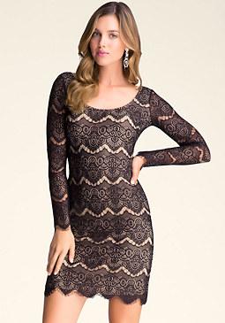 Long Sleeve Lace Dress at bebe