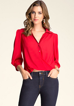 bebe Twist Hem Silk Blouse
