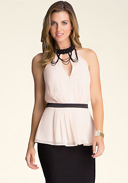 bebe Embellished Neck Halter Top