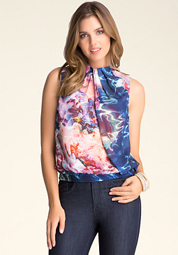 bebe Print Draped Mock Neck Top