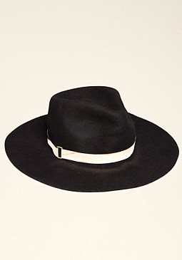 bebe Wool Fedora with Metal Band