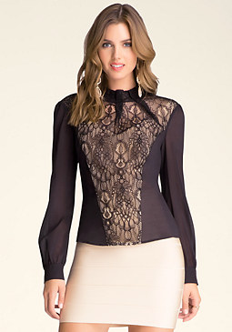 bebe Silk & Lace Top