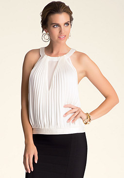bebe Pleated Circle Halter Top