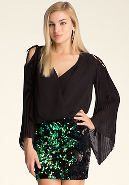 bebe Pleated Fan Sleeve Top