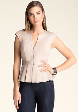 bebe Leather Pleated Peplum Top