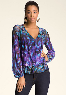 bebe Print Surplice Top