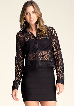 bebe Tess Lace Button-Up Top