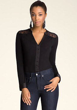 bebe Lace Button Up Bodysuit