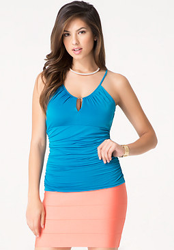 bebe Shirred Waist Top