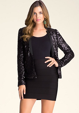 Contrast Sequin Jacket at bebe