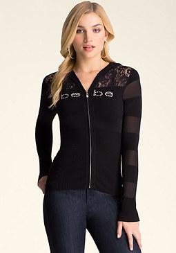 bebe Logo Lace Hoodie Sweater