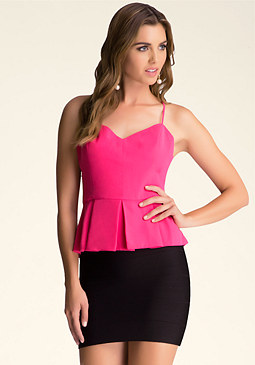 Cutout Peplum Top at bebe
