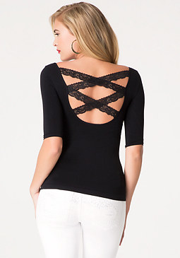 bebe Back Crisscross Lace Top