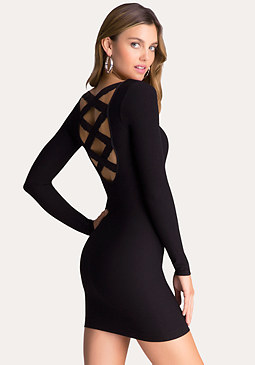 bebe Crisscross Lace Back Dress