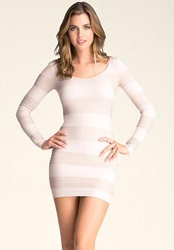 bebe Metallic Stripe Dress