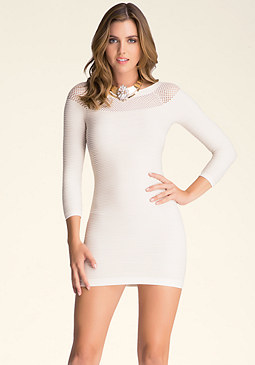bebe Jani Mesh Shoulder Dress
