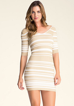 bebe Metallic Stripe Dress