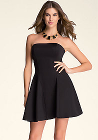 bebe Strapless Fit & Flare Dress