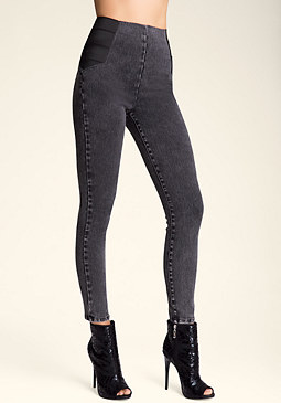 bebe High-Waist Zip Jeggings