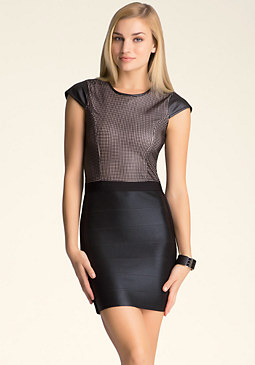 bebe Faux Leather Bandage Dress