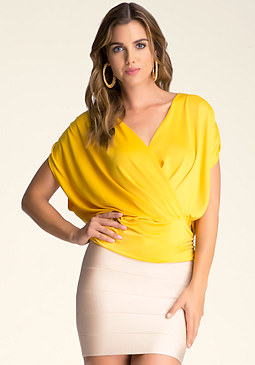 bebe Piper Ruched Layer Top
