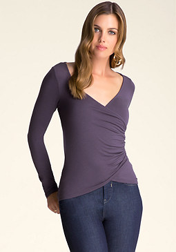 bebe Long Sleeve Surplice Top