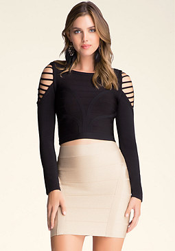 bebe Slash Shoulder Bandage Top
