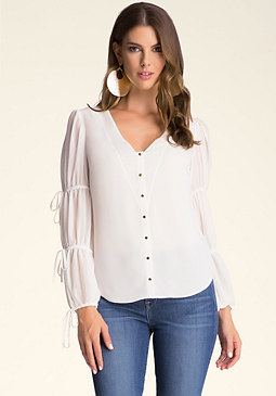 bebe Tie Sleeve Snap Down Blouse
