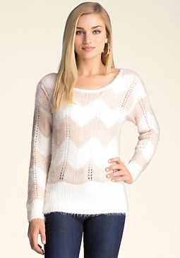 bebe Fuzzy Colorblock Sweater