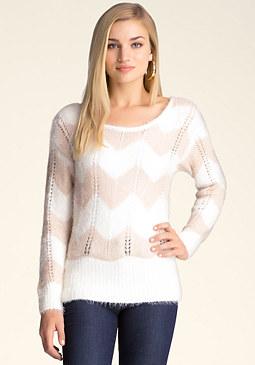 bebe Fuzzy Colorblock Sweater
