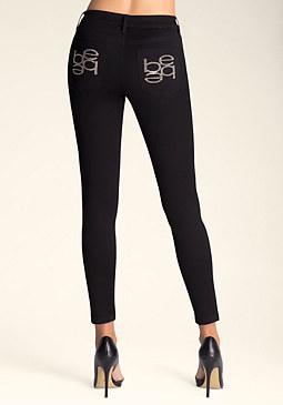 bebe Mirror Logo Skinny Jeans
