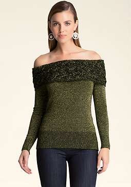 bebe Cable Shoulder Sweater