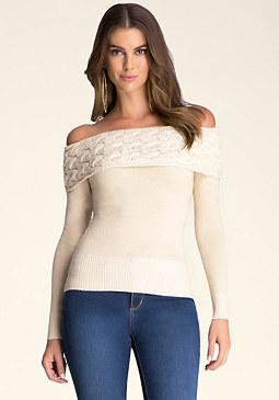 bebe Cable Shoulder Sweater