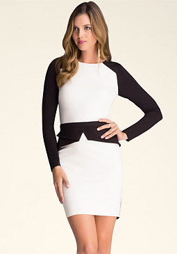 bebe Colorblock Peplum Dress