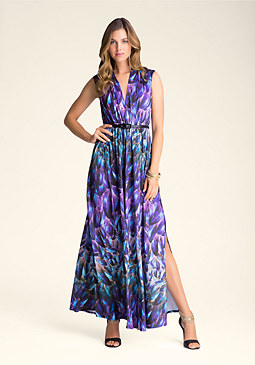 bebe Deep V-Neck Maxi Dress
