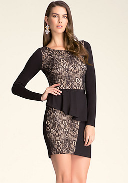 bebe Peplum Lace Dress