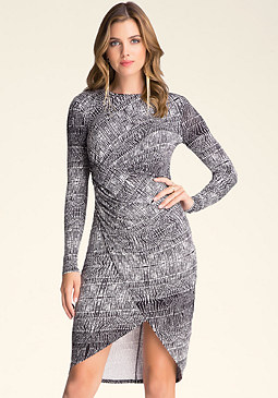 bebe Faux Wrap Tulip Dress